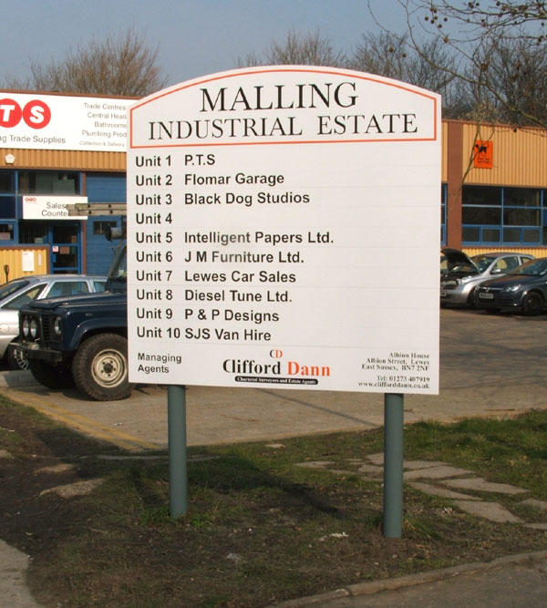 Powder coated aluminium industrial estate entrance and directory sign