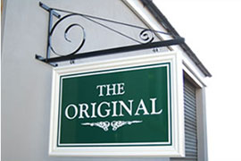 thumbnail picture of a hanging sign, please click on it for an enlargement